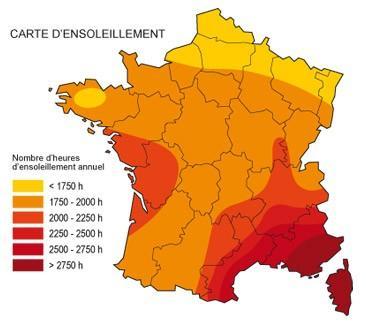 Carte solaire France